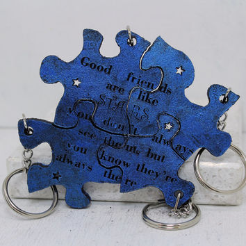 Friendship Set of 4 Best Friend Key chains Linking pieces Blue painted leather Good Friends are like stars Made To order