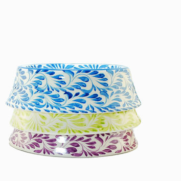 Pastel pet Bowl talavera pottery - For small and large dogs - Pastel pottery - Pastel ceramics - Blue, orange and green