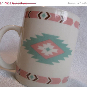 ON SALE Mint and pink southwestern mug/vintage Native American design coffee mug/Meiwa Table Art cup