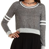 Varsity-Striped Cropped Sweatshirt - Med Gray Combo