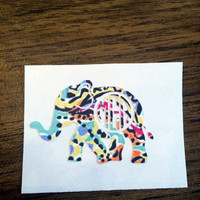 Monogrammed Lilly Elephant Decal - Southern - Sorority