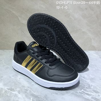 HCXX A526 Adidas NEO Low Leather Casual Skate Shoes Black Gold 1