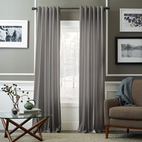 Velvet Pole Pocket Curtain - Dove Gray