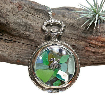 Sea Glass Vintage Pocket Watch Necklace with Sea Turtle Hawaiian Honu Jewelry for Mermaids