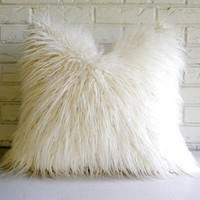 White Shag Pillow Cover - Faux Fur Throw - Mongolian Lamb Decorative Pillow - Vegan Fur Pillow