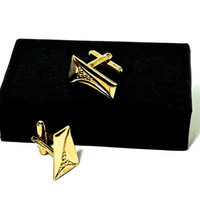 Modernist Cufflinks,Gold Tone Cufflinks, Trapezoid Cufflinks,Mid Century Jewelry,Formal Wear Accessories,Mens Jewelry,Wedding Groom Jewelry,