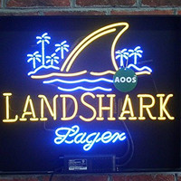LandShark Lager Beer Real Glass Neon Light Sign