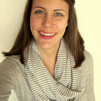 Gray, Striped, Jersey, Homemade, Infinity Scarf.