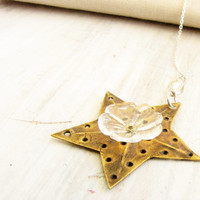 Vintage Metal Star Resin Flower Sterling Silver Chain Necklace Repurposed Upcycled Recycled