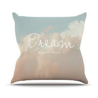 "Suzanne Carter ""Dream"" Quote Clouds Outdoor Throw Pillow"