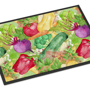 Watercolor Vegetables Farm to Table Indoor or Outdoor Mat 18x27 BB7572MAT