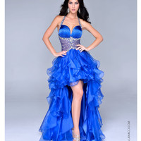 Royal Satin & Tulle High-Low Halter Prom Dress