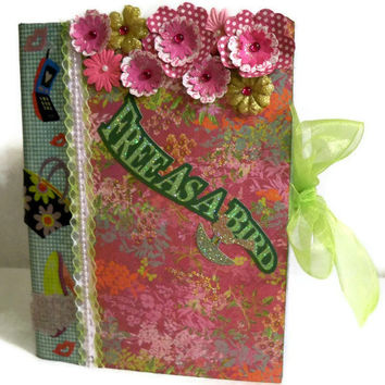 Composition Book - Altered Hard Cover Botanical Garden Journal - Handmade (Notebook/ Diary/ Pearl Lace/ Neon Green Ribbon) Bohemian Style