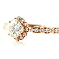 14K Rose Gold Moissanite Ring Diamond Halo Engagement Ring Cushion Cut 18K Platinum Palladium Conflict Free Moissanite Ring