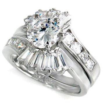 Sterling Silver 1.25 Round cut and Emerald CZ Antique Fan Style Wedding Ring set size 5-9