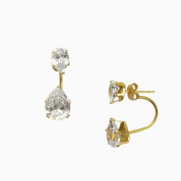 Teardrop Diamond Ear Jacket (Gold)