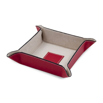 Red Leather Snap Valet with Pig Skin Leather Lining.