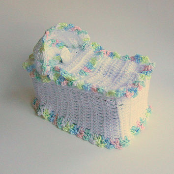 White  Tissue Box Cover Kleenex Cozy Pastel Crochet Baby Bassinet Kozy Bathroom Nursery Room Accessory