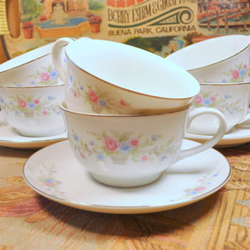 Vintage Set of Florenteen Fine China Tea Cups and Saucers in the Fantasia Pattern - Made in Japan