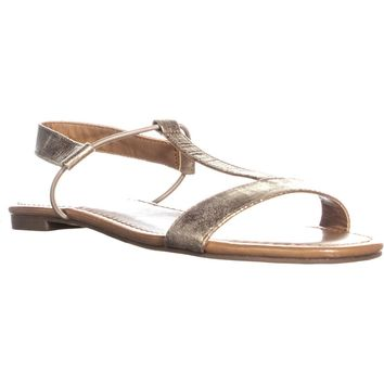 SC35 Kristee Flat Ankle Strap Sandals, Gold, 9 US