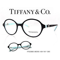 TIFFANY & CO. TF2080 COLOR 8055 BLACK & AQUA 49-18-135 ITALY ROUND EYEGLASSES