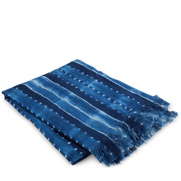 Sabina Shibori Fringe Throw- Indigo