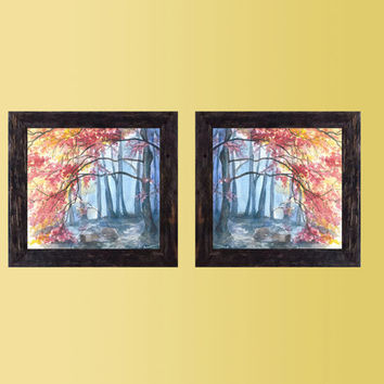 Colourful wall decor - Set of 2 Art Prints Autumn Landscape, Diptih Print of an Original Watercolor Painting, Wall and Home decor