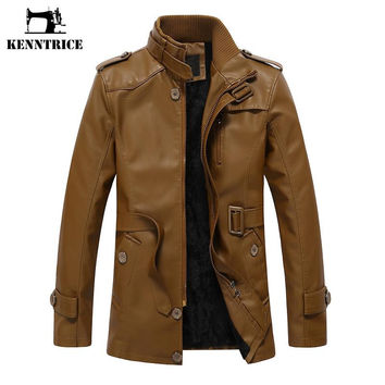New Winter Men's Leather Coat Trench Causal Military Motorcycle Jacket Men
