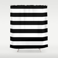 Stripe Black & White Horizontal Shower Curtain by Beautiful Homes