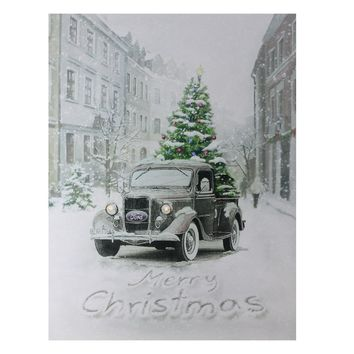 "Fiber Optic Lighted Ford Truck Merry Christmas Canvas Wall Art 15.75"" x 12"""