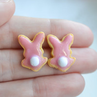 Easter Bunny Sugar Cookie Earrings-Sugar cookie collection-Scented-Miniature food jewelry