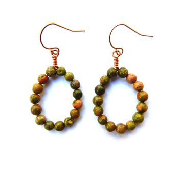 Unakite Jasper gemstone earrings, wrapped with copper and 14k rose gold filled ear wires