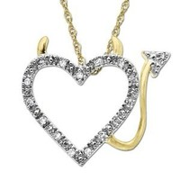 14k Yellow Gold and Diamond Heart Devil Pendant Necklace, 18'