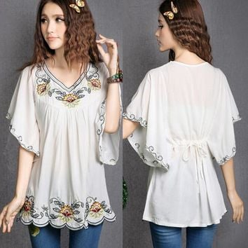 2018 Hot Sale vintage 70s Mexican Ethnic Floral EMBROIDERED Hippie Blouses Women Clothing Summer Tops Tunic blusa Feminina