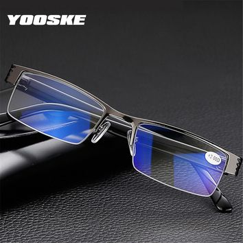 YOOSKE Blue Film Resin Reading Glasses Men Women +1.00 1.50 2.00 2.50 3.00 3.50 4.00 Diopter