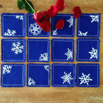 Table decor mug mats Mazarine blue coasters Fabric coasters Cross stitch coasters Handmade mug rugs Square coasters Embroidered snowflake