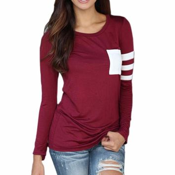 Woman's Burgundy/Red Arm Stripe White Pocket Long Sleeve T-Shirt Top