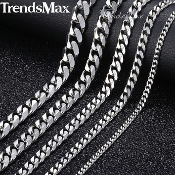 3-9mm Men's Stainless Steel Cuban Link Chain Necklace Gold Black Silver Chain 45-60cm Fashion Long Necklaces for Men KNM07