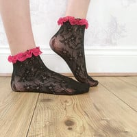 Black and Pink Lace Ankle Socks, Crochet Lace Socks, Lace Socks, Shabby Chic, Fashion Accessory, Fashion Socks, Teen Gift Ideas
