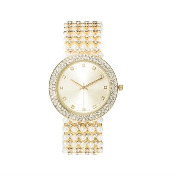 Covet Women's 'Mila' Crystal and Pearl Bead Gold Tone Bracelet Quartz Watch