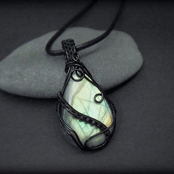 OOAK Wire wrapped Labradorite necklace, green fire stone, intricate wire wrap, black wire wrap, leather necklace, unique necklace for women