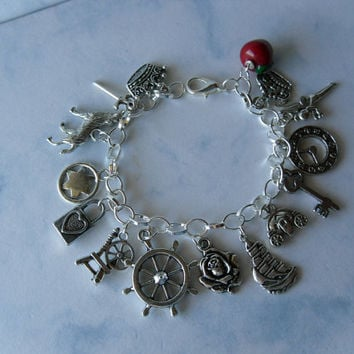 Once Upon A Time w/ Apple Charm Bracelet-Snow White,Evil Queen,Captain Hook,Rumpelstiltskin,Tinker Bell,Neverland, Rose,Belle,Keys,Crowns,