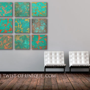 Oxidized Metal Abstract paintings, - ORIGINAL 9 panel ( 15 x 15 Inch) Abstract Wall Art -  Copper, Green, rust, brown, red, metal, orange