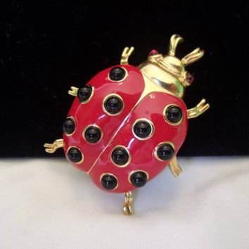 Trifari TM Ladybug Insect Bug Red Enamel Glass Gold Plate Vintage Ladybird Brooch Pin