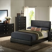 A.M.B. Furniture & Design :: Bedroom furniture :: Bedroom Sets :: Wood Bed Sets :: Headboard & Footboard sets :: 4 pc Casita collection Queen black finish wood with plank look headboard bedroom set