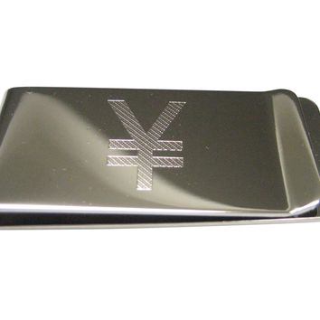 Etched Sleek Japanese Yen Currency Sign Money Clip