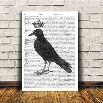 Crow poster Raven art Bird print Wall decor RTA203