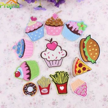 1PCS Heart Unicorn Patch Food Applique Cheap Embroidered Cute Patches Kids Iron On Cartoon Patches For Clothes Stickers Jeans