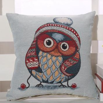 Cartoon Handmade Owl Home Decor Pillow Decorative Throw Pillows Cute Drawing 16