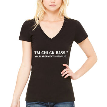 "Gossip Girl ""I'm Chuck Bass. Your Argument is Invalid."" Women's V-Neck T-Shirt"